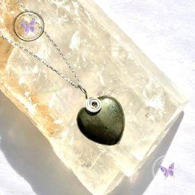 Pyrite Heart Silver Swirl Pendant